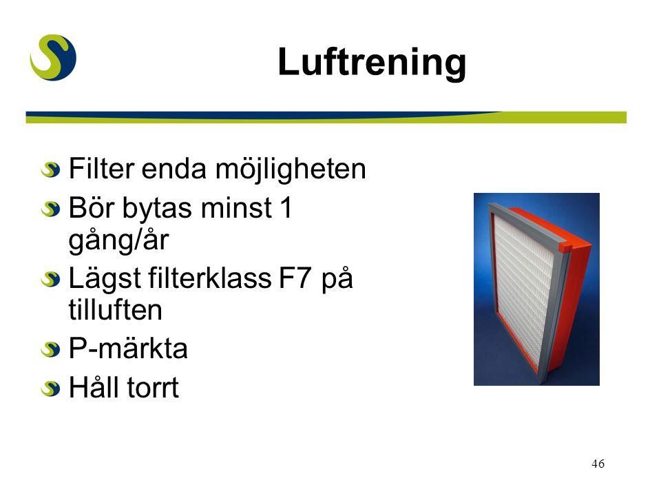 46 Luftrening Filter enda möjligheten Bör bytas minst 1 gång/år Lägst filterklass F7 på tilluften P-märkta Håll torrt