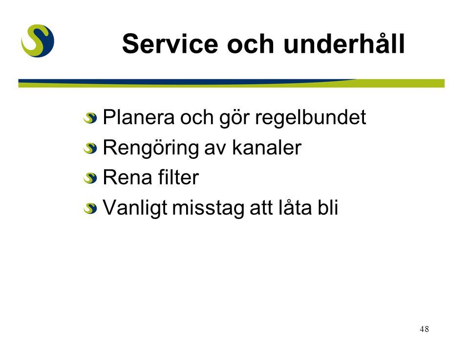 48 Service och underhåll Planera och gör regelbundet Rengöring av kanaler Rena filter Vanligt misstag att låta bli