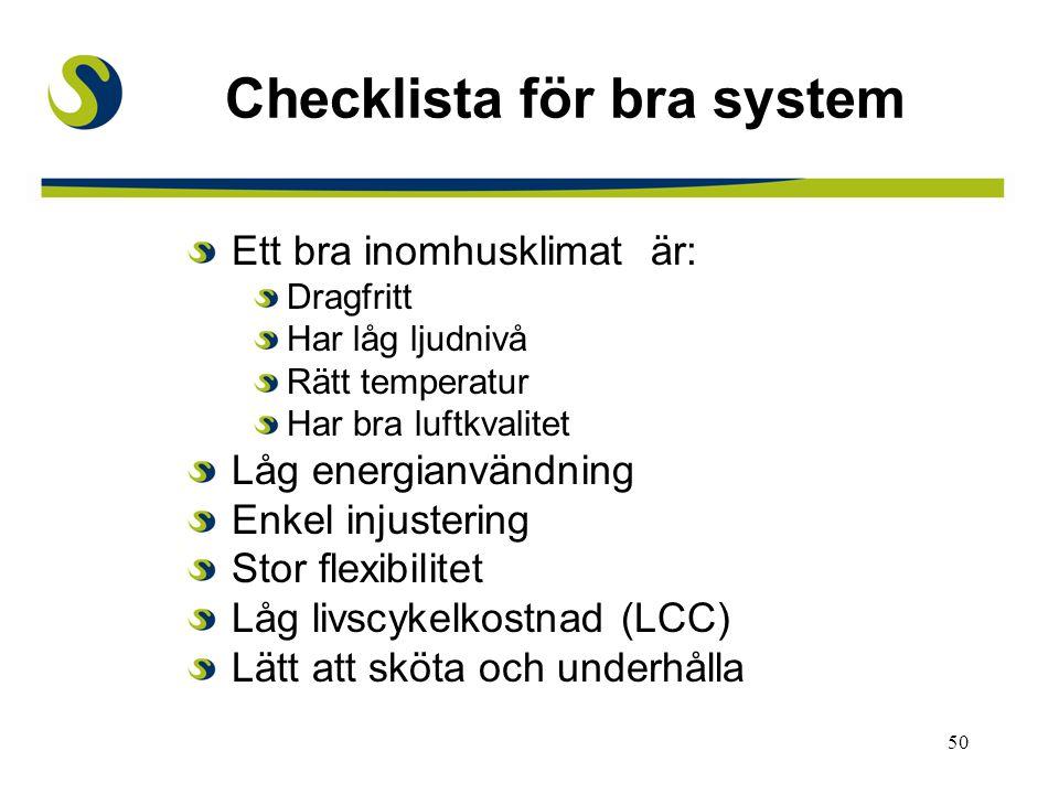 50 Checklista för bra system Ett bra inomhusklimat är: Dragfritt Har låg ljudnivå Rätt temperatur Har bra luftkvalitet Låg energianvändning Enkel inju