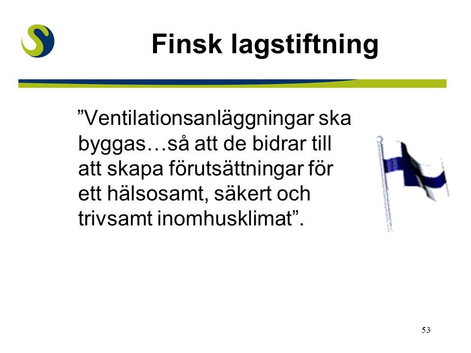 """53 Finsk lagstiftning """"Ventilationsanläggningar ska byggas…så att de bidrar till att skapa förutsättningar för ett hälsosamt, säkert och trivsamt inom"""