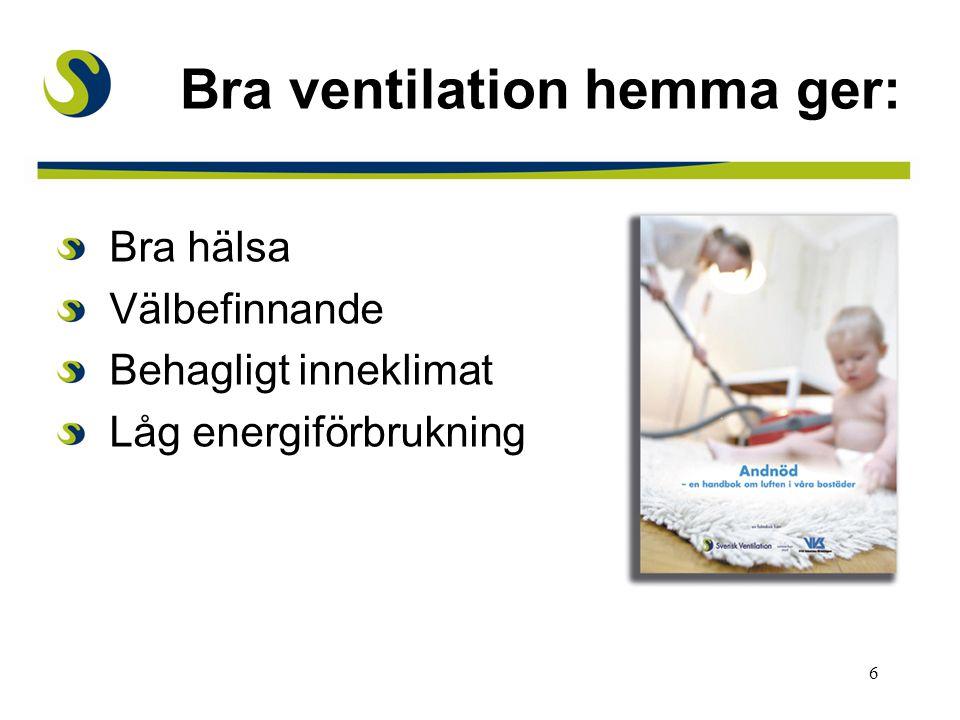 6 Bra hälsa Välbefinnande Behagligt inneklimat Låg energiförbrukning Bra ventilation hemma ger: