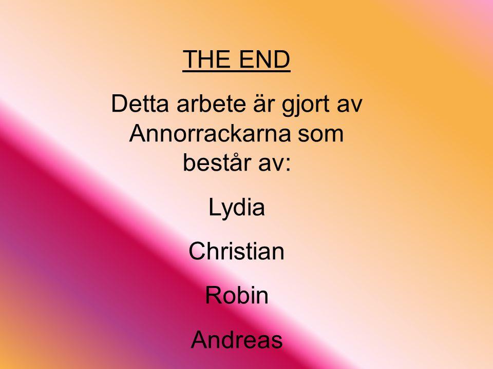 THE END Detta arbete är gjort av Annorrackarna som består av: Lydia Christian Robin Andreas Källor: NE