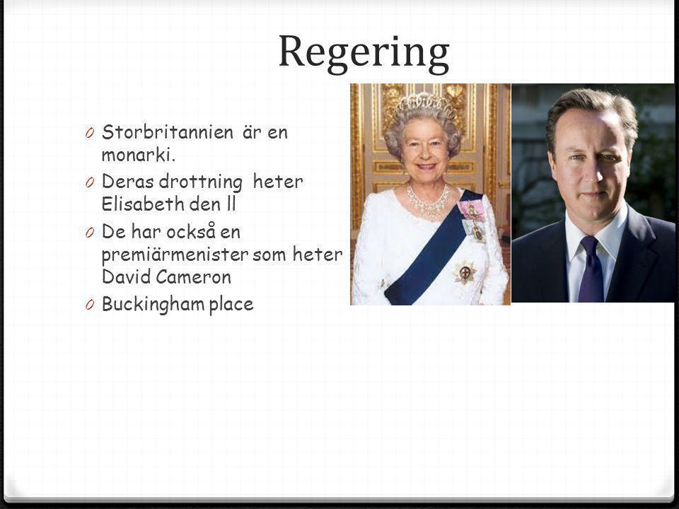 Regering 0 Storbritannien är en monarki. 0 Deras drottning heter Elisabeth den ll 0 De har också en premiärmenister som heter David Cameron 0 Buckingh