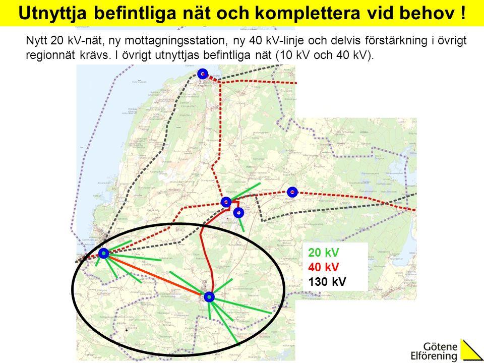 20 kV 40 kV 130 kV Utnyttja befintliga nät och komplettera vid behov ! Nytt 20 kV-nät, ny mottagningsstation, ny 40 kV-linje och delvis förstärkning i
