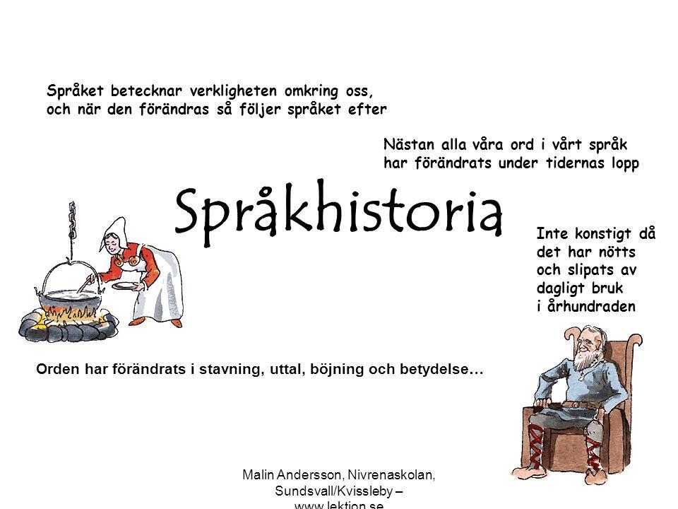 Malin Andersson, Nivrenaskolan, Sundsvall/Kvissleby – www.lektion.se 8009001000120013001400150016001700180019002000 Runsvenska 800-1225 Äldre fornsvenska 1225-1375 Yngre fornsvenska 1375-1526 Äldre nysvenska 1526-1732 Yngre nysvenska 1732- Vårt språks historia brukar delas in i följande perioder: