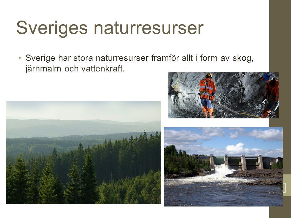5 Sveriges naturresurser Sverige har stora naturresurser framför allt i form av skog, järnmalm och vattenkraft.