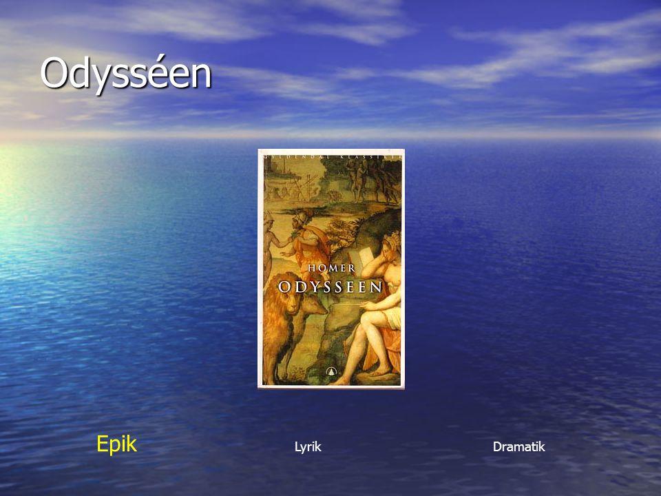 Från Grekland kommer också Lyriken Lyriken (=poesi, dikter) (=poesi, dikter) Ordet kommer från instrumentet lyra som användes när dikter framfördes till musik Ordet kommer från instrumentet lyra som användes när dikter framfördes till musik Epik Lyrik Dramatik