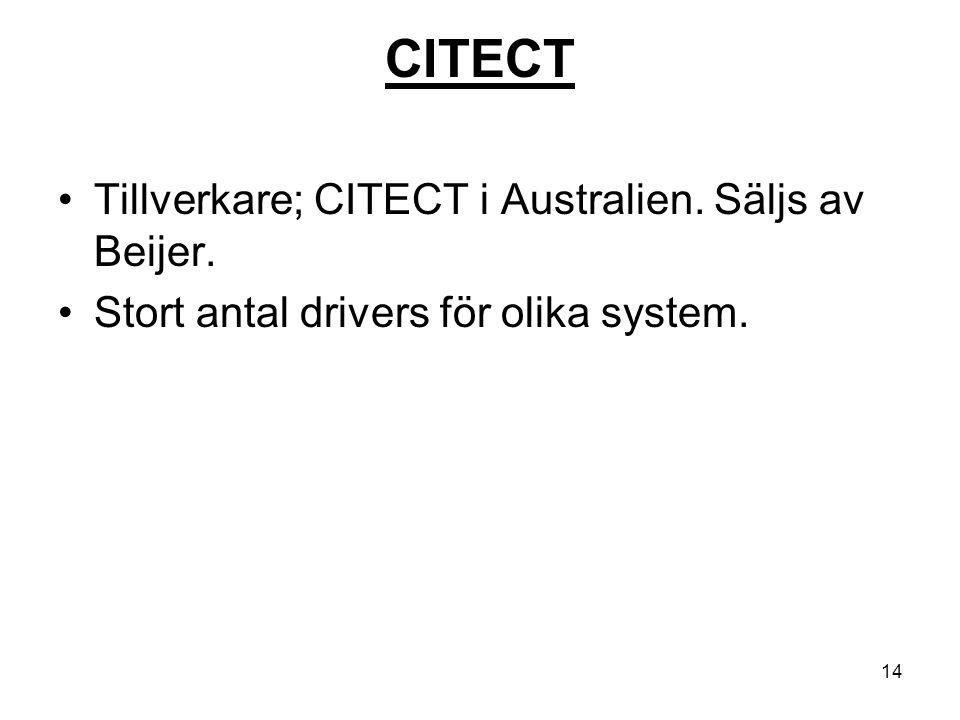 14 CITECT Tillverkare; CITECT i Australien. Säljs av Beijer. Stort antal drivers för olika system.
