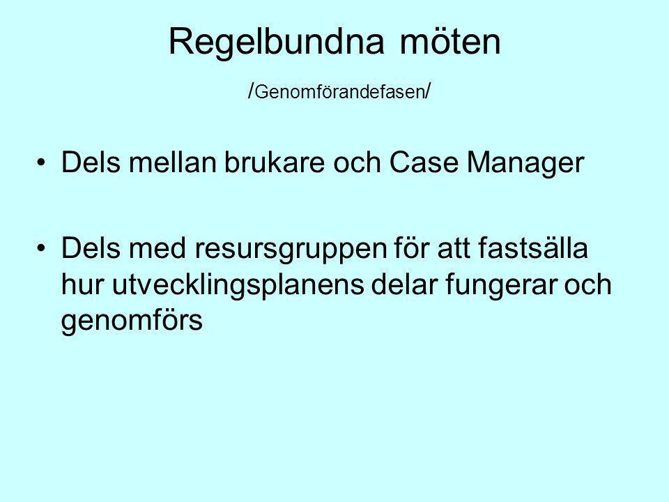 Regelbundna möten / Genomförandefasen / Dels mellan brukare och Case Manager Dels med resursgruppen för att fastsälla hur utvecklingsplanens delar fun