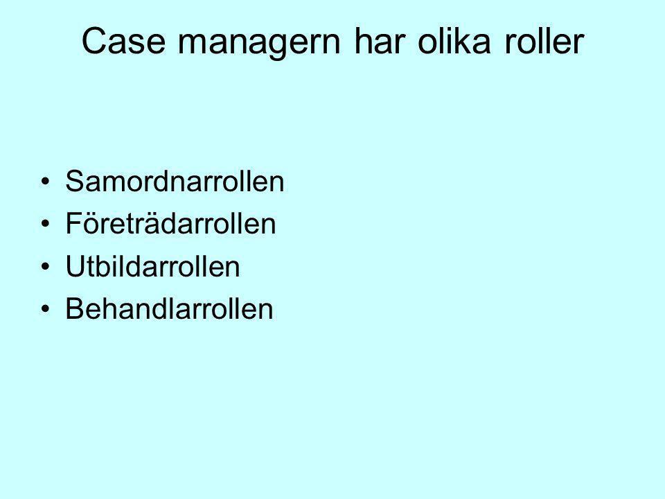 Case managern har olika roller Samordnarrollen Företrädarrollen Utbildarrollen Behandlarrollen