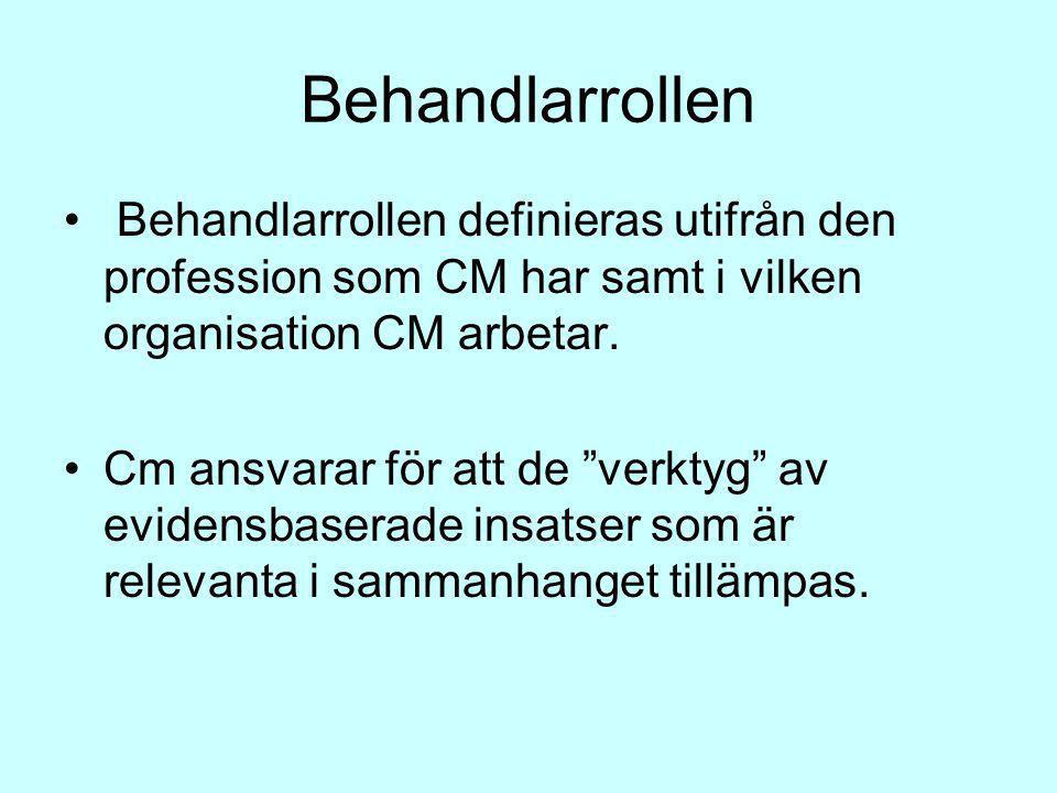 """Behandlarrollen Behandlarrollen definieras utifrån den profession som CM har samt i vilken organisation CM arbetar. Cm ansvarar för att de """"verktyg"""" a"""