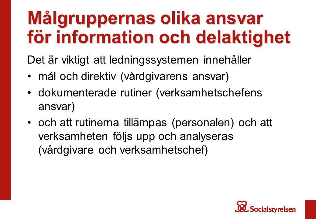Målgruppernas olika ansvar för information och delaktighet Det är viktigt att ledningssystemen innehåller mål och direktiv (vårdgivarens ansvar) dokumenterade rutiner (verksamhetschefens ansvar) och att rutinerna tillämpas (personalen) och att verksamheten följs upp och analyseras (vårdgivare och verksamhetschef)