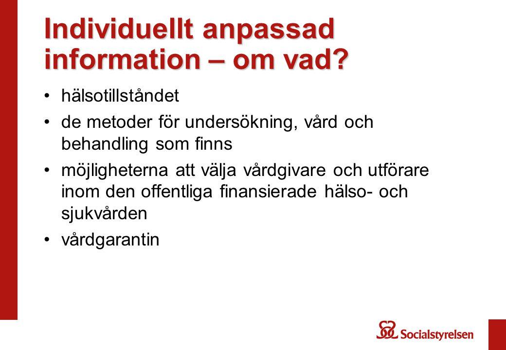 Individuellt anpassad information – om vad.