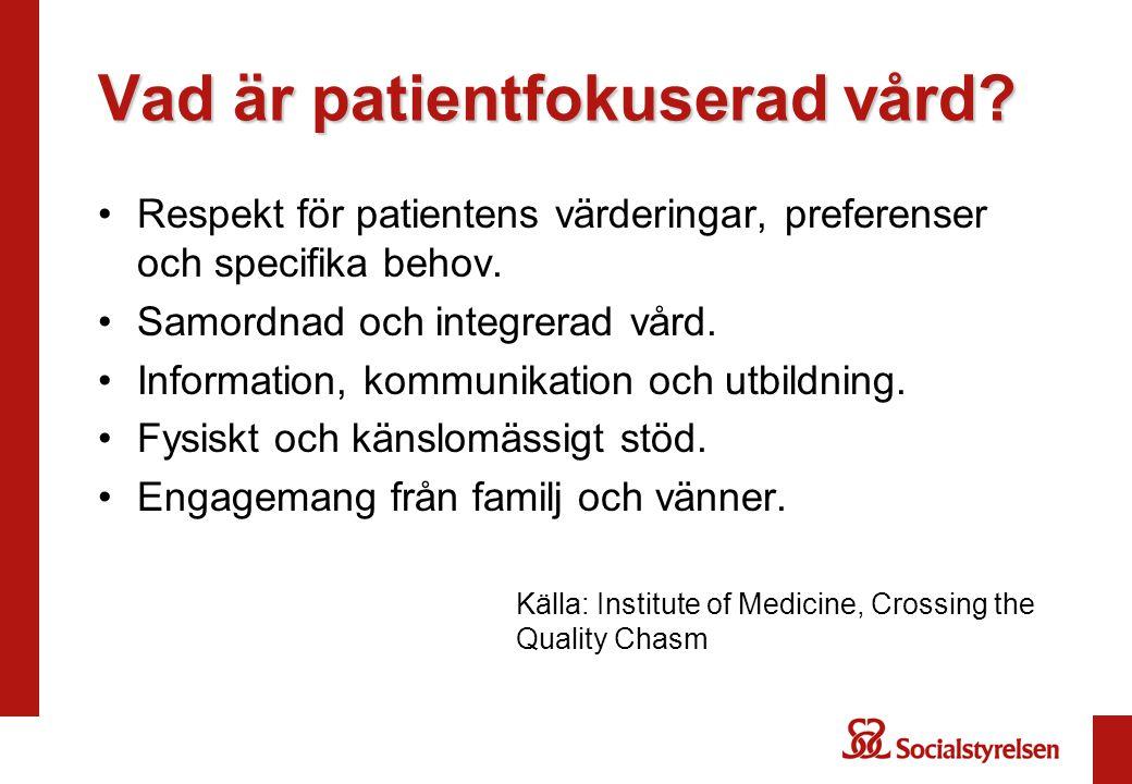 Vad är patientfokuserad vård.Respekt för patientens värderingar, preferenser och specifika behov.