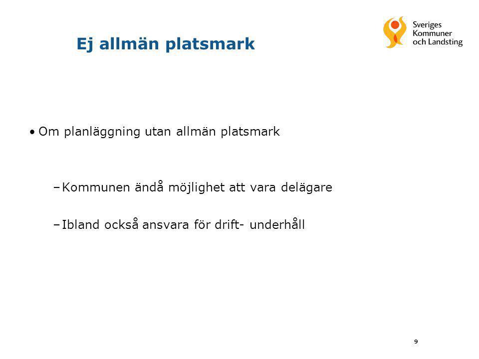9 Ej allmän platsmark Om planläggning utan allmän platsmark –Kommunen ändå möjlighet att vara delägare –Ibland också ansvara för drift- underhåll