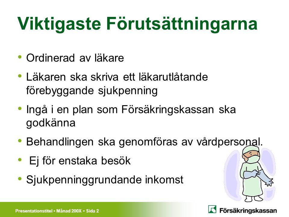 Presentationstitel Månad 200X Sida 3 Information till den försäkrade Det behövs en ansökan.