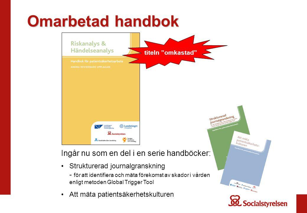 Omarbetad handbok Ingår nu som en del i en serie handböcker: Strukturerad journalgranskning - för att identifiera och mäta förekomst av skador i vårde