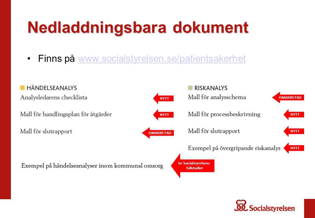 Nedladdningsbara dokument Finns på www.socialstyrelsen.se/patientsakerhetwww.socialstyrelsen.se/patientsakerhet NYTT Se Socialstyrelsens fallstudier N