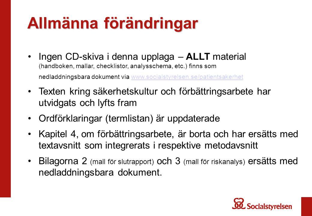 Allmänna förändringar Ingen CD-skiva i denna upplaga – ALLT material (handboken, mallar, checklistor, analysschema, etc.) finns som nedladdningsbara d