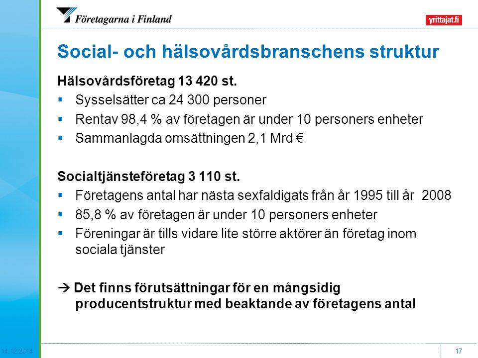 14.12.201417 Social- och hälsovårdsbranschens struktur Hälsovårdsföretag 13 420 st.