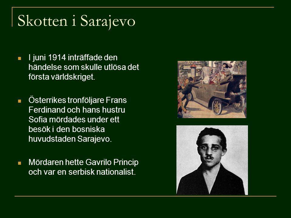 Skotten i Sarajevo I juni 1914 inträffade den händelse som skulle utlösa det första världskriget. Österrikes tronföljare Frans Ferdinand och hans hust