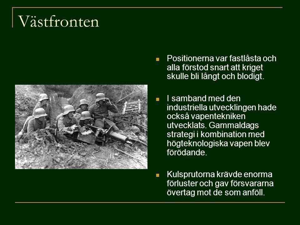 Västfronten Positionerna var fastlåsta och alla förstod snart att kriget skulle bli långt och blodigt. I samband med den industriella utvecklingen had