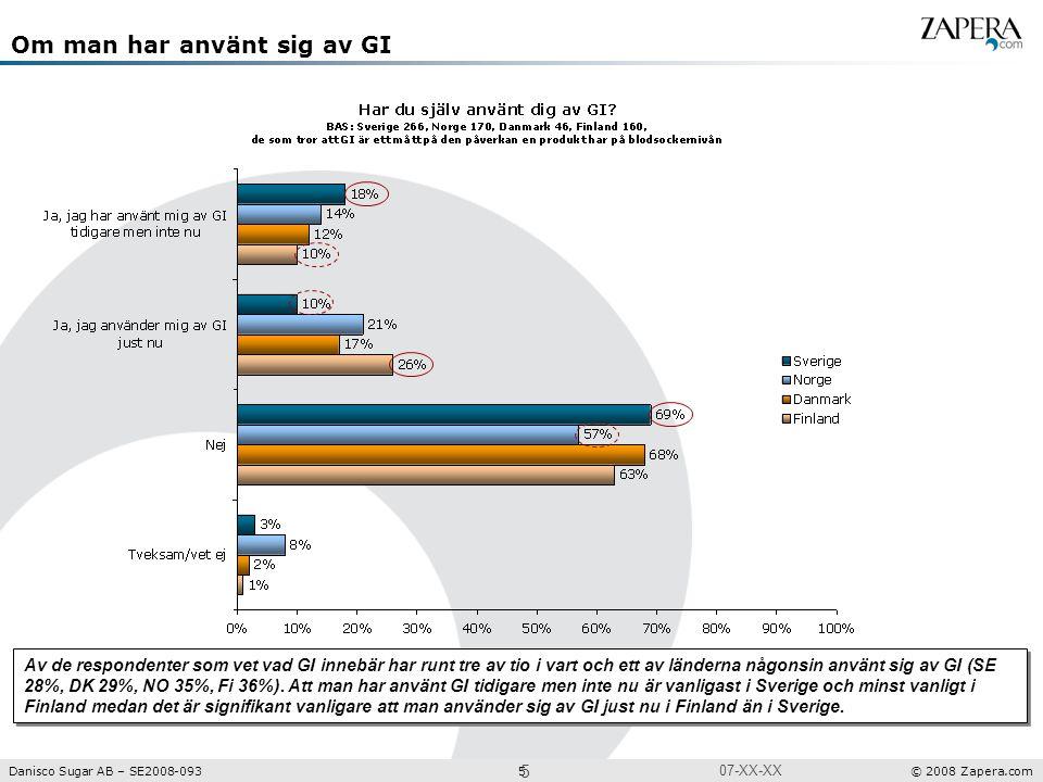 Undersökning Projektnr: XXXX Danisco Sugar AB – SE2008-093 5 © 2008 Zapera.com 5 07-XX-XX Om man har använt sig av GI Av de respondenter som vet vad GI innebär har runt tre av tio i vart och ett av länderna någonsin använt sig av GI (SE 28%, DK 29%, NO 35%, Fi 36%).