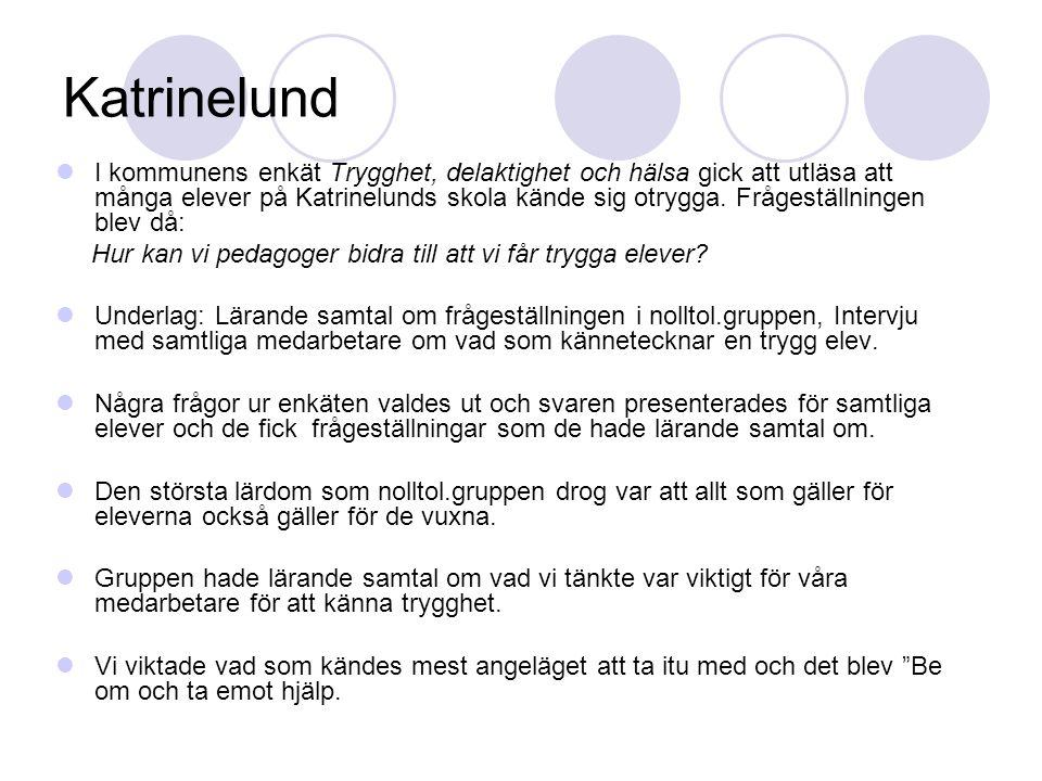 Katrinelund I kommunens enkät Trygghet, delaktighet och hälsa gick att utläsa att många elever på Katrinelunds skola kände sig otrygga. Frågeställning