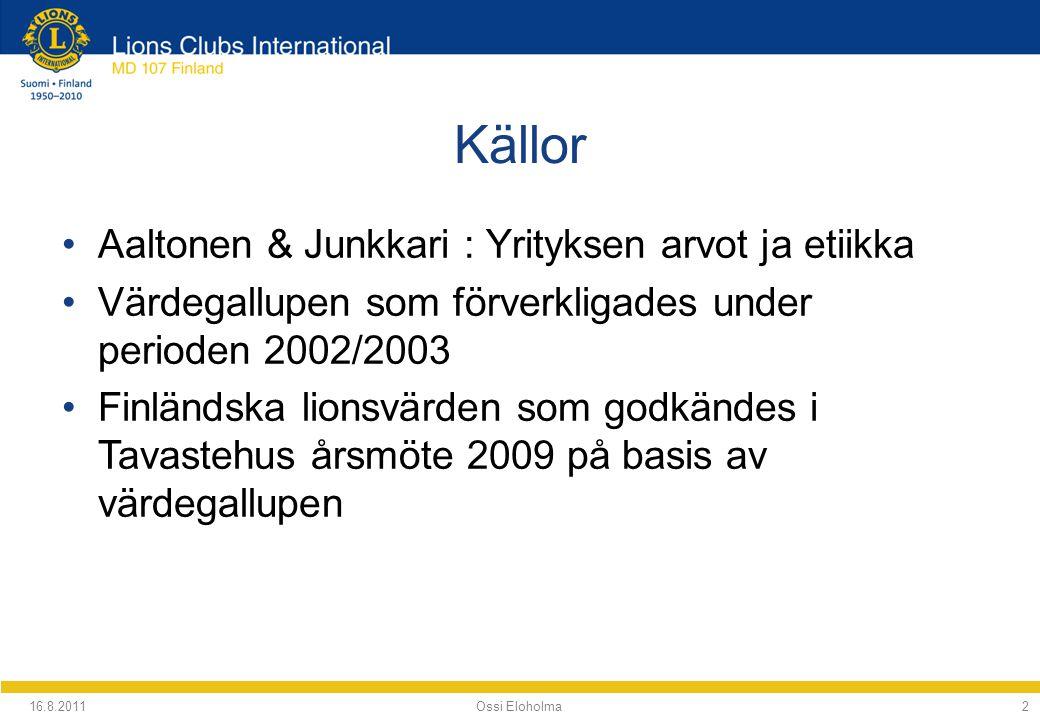 Källor Aaltonen & Junkkari : Yrityksen arvot ja etiikka Värdegallupen som förverkligades under perioden 2002/2003 Finländska lionsvärden som godkändes i Tavastehus årsmöte 2009 på basis av värdegallupen 16.8.2011 Ossi Eloholma2