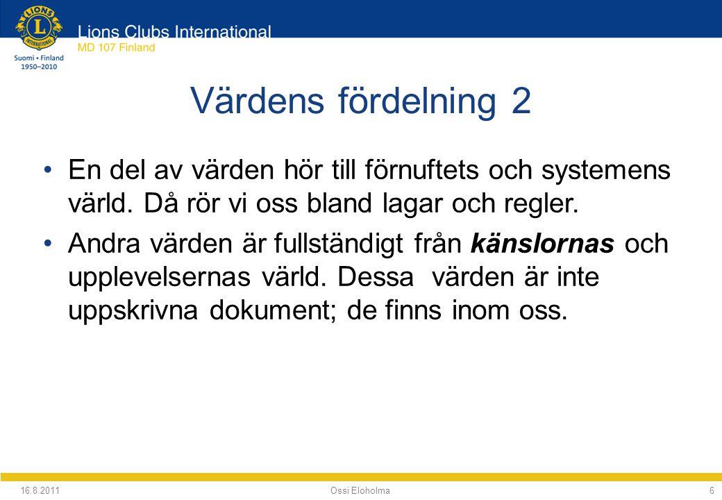 16.8.2011 Ossi Eloholma77 7 Värdefältet Förnuft Känslor VardagsvärdenEtiska värden