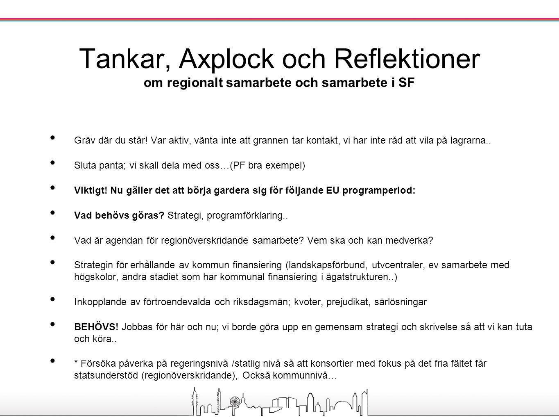 Vad gäller svenska regionala lösningar tror på autonomi, tvåspråkiga lösningar blir finska sådana (projekt och dylikt).