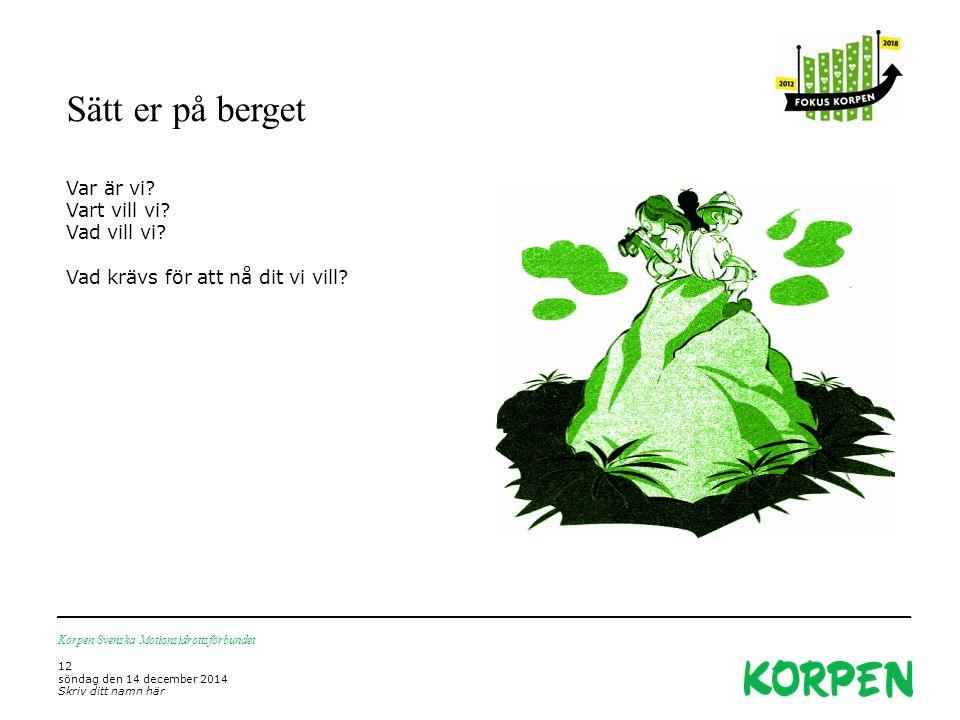 Sätt er på berget Korpen Svenska Motionsidrottsförbundet 12 söndag den 14 december 2014 Skriv ditt namn här Var är vi.