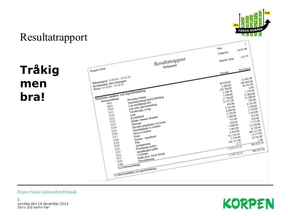 Resultatrapport Korpen Svenska Motionsidrottsförbundet 3 söndag den 14 december 2014 Skriv ditt namn här Tråkig men bra!