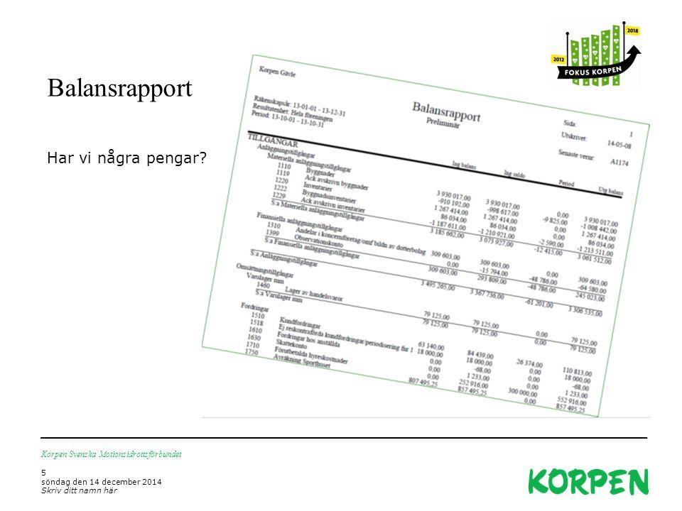 Balansrapport Korpen Svenska Motionsidrottsförbundet 5 söndag den 14 december 2014 Skriv ditt namn här Har vi några pengar?