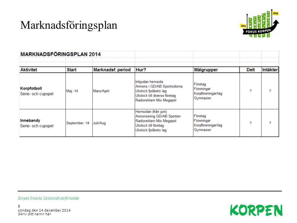 Marknadsföringsplan Korpen Svenska Motionsidrottsförbundet 8 söndag den 14 december 2014 Skriv ditt namn här