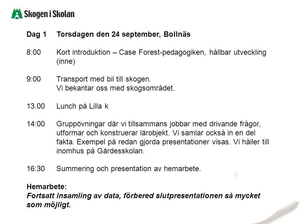 Dag 1Torsdagen den 24 september, Bollnäs 8:00Kort introduktion – Case Forest-pedagogiken, hållbar utveckling (inne) 9:00Transport med bil till skogen.