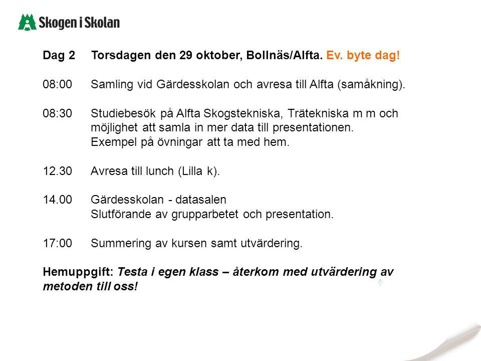 Dag 2Torsdagen den 29 oktober, Bollnäs/Alfta. Ev. byte dag! 08:00Samling vid Gärdesskolan och avresa till Alfta (samåkning). 08:30Studiebesök på Alfta