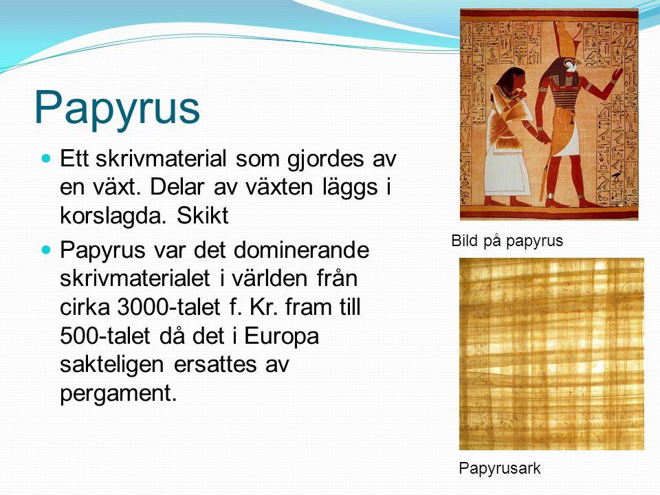 Papyrus Ett skrivmaterial som gjordes av en växt. Delar av växten läggs i korslagda. Skikt Papyrus var det dominerande skrivmaterialet i världen från