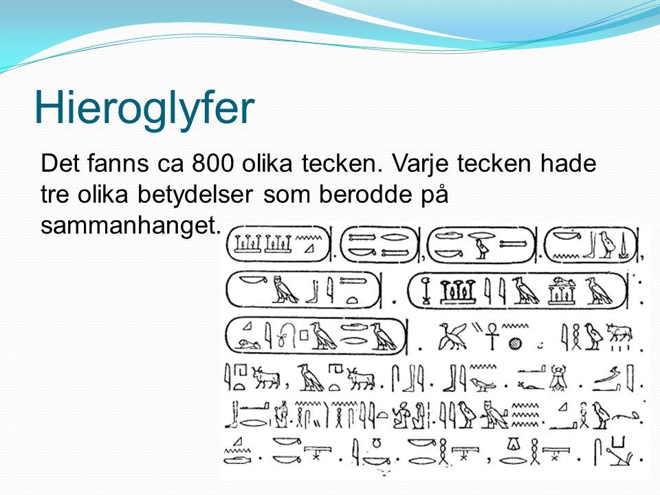 Hieroglyfer Det fanns ca 800 olika tecken. Varje tecken hade tre olika betydelser som berodde på sammanhanget.