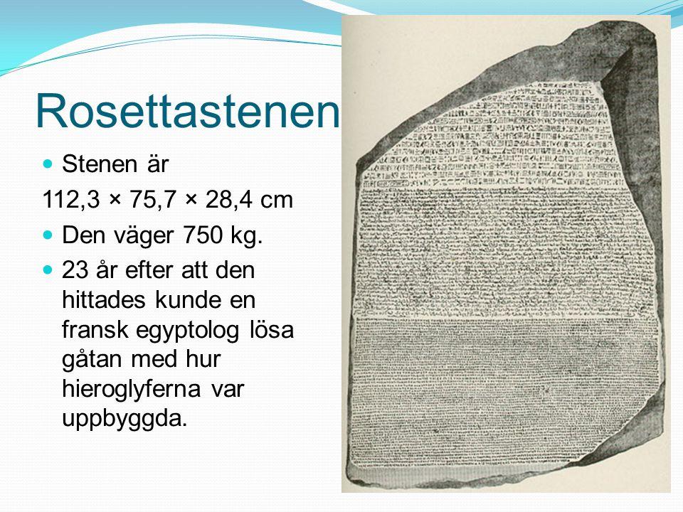 Rosettastenen Stenen är 112,3 × 75,7 × 28,4 cm Den väger 750 kg. 23 år efter att den hittades kunde en fransk egyptolog lösa gåtan med hur hieroglyfer
