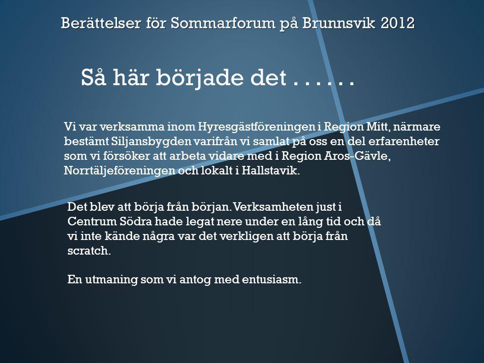 Berättelser Sommarforum 2012  Årets tema på Sommarforum skall ju vara att vi får delge varandra lite om vad man har lyckats bra med i sin verksamhet.