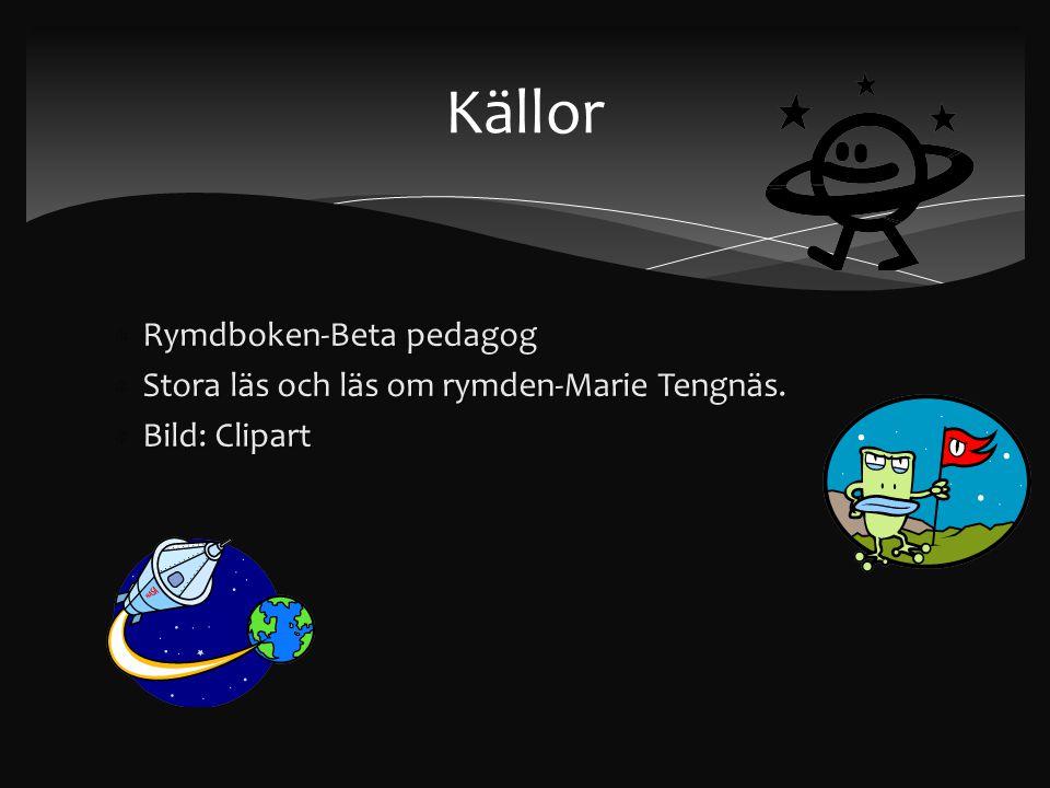  Rymdboken-Beta pedagog  Stora läs och läs om rymden-Marie Tengnäs.  Bild: Clipart Källor