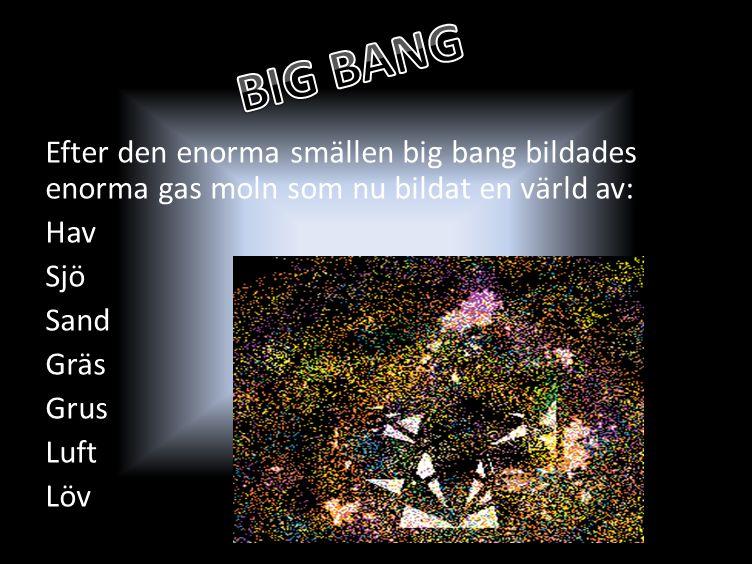 Efter den enorma smällen big bang bildades enorma gas moln som nu bildat en värld av: Hav Sjö Sand Gräs Grus Luft Löv