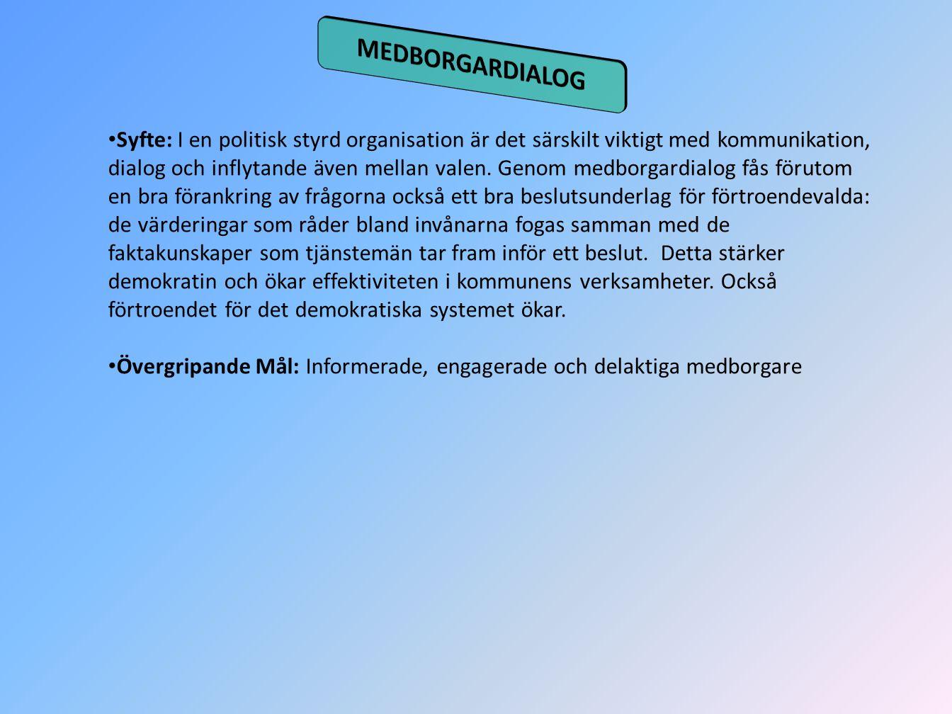 Syfte: I en politisk styrd organisation är det särskilt viktigt med kommunikation, dialog och inflytande även mellan valen. Genom medborgardialog fås