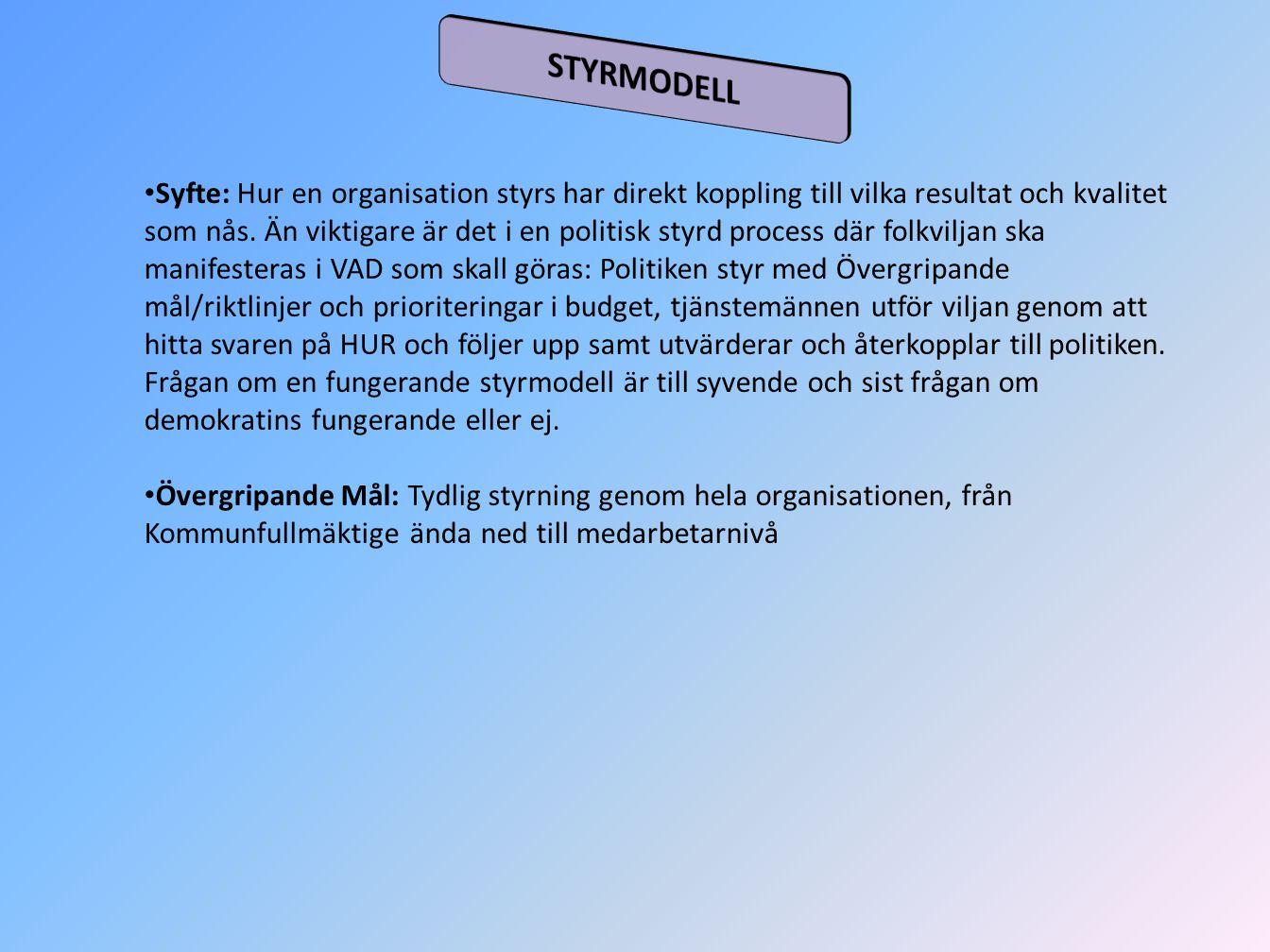 Syfte: Hur en organisation styrs har direkt koppling till vilka resultat och kvalitet som nås. Än viktigare är det i en politisk styrd process där fol