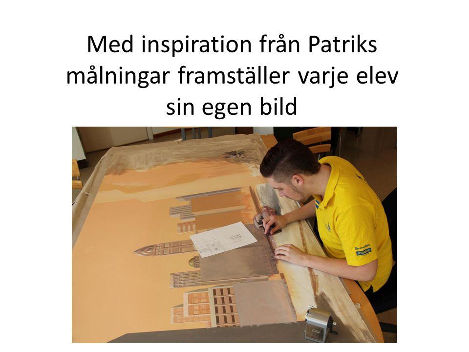 Med inspiration från Patriks målningar framställer varje elev sin egen bild