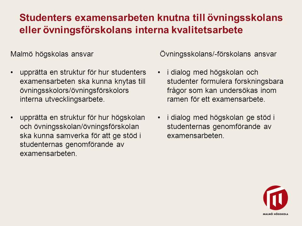 2010 05 04 Malmö högskolas ansvar upprätta en struktur för hur studenters examensarbeten ska kunna knytas till övningsskolors/övningsförskolors intern