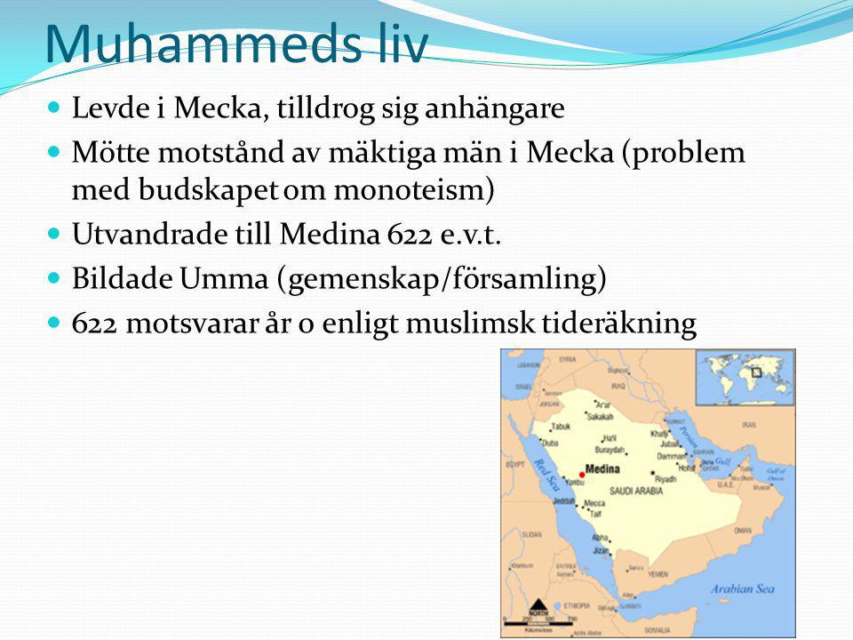 Muhammeds liv Levde i Mecka, tilldrog sig anhängare Mötte motstånd av mäktiga män i Mecka (problem med budskapet om monoteism) Utvandrade till Medina