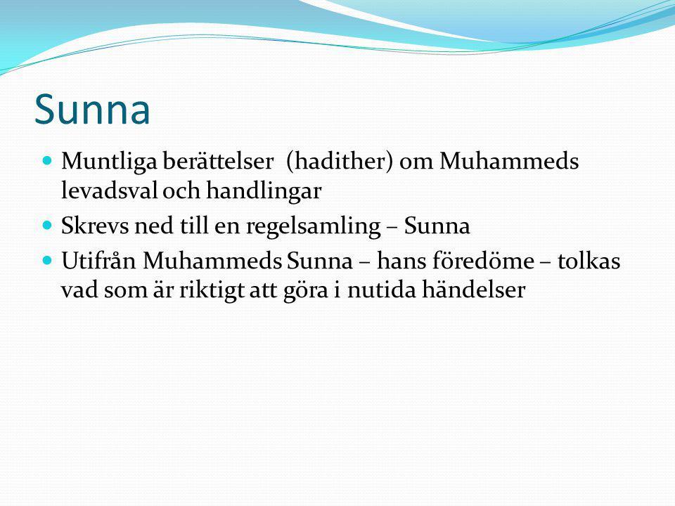 Sunna Muntliga berättelser (hadither) om Muhammeds levadsval och handlingar Skrevs ned till en regelsamling – Sunna Utifrån Muhammeds Sunna – hans för