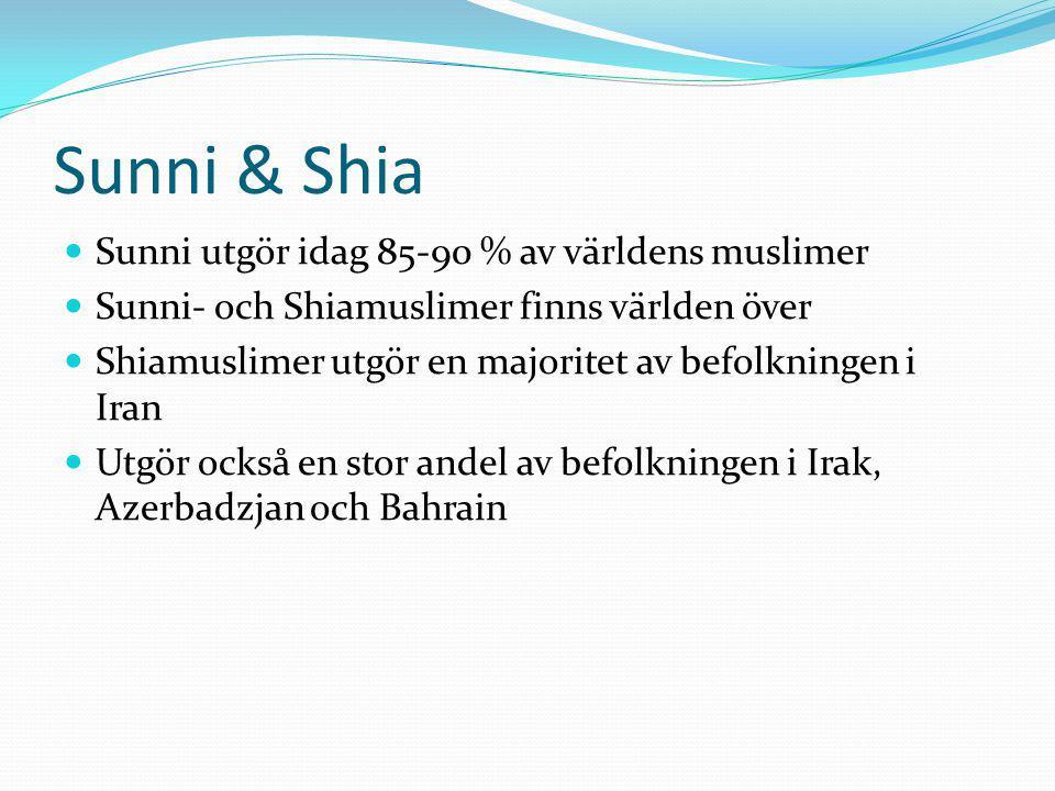 Sunni & Shia Sunni utgör idag 85-90 % av världens muslimer Sunni- och Shiamuslimer finns världen över Shiamuslimer utgör en majoritet av befolkningen